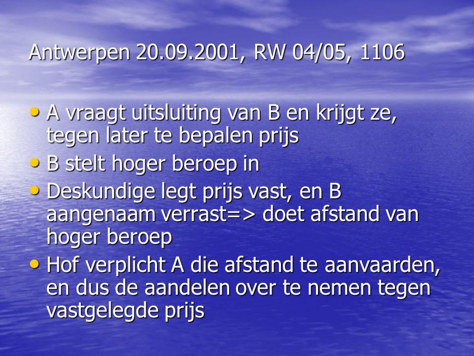 Antwerpen 20.09.2001, RW 04/05, 1106 A vraagt uitsluiting van B en krijgt ze, tegen later te bepalen prijs A vraagt uitsluiting van B en krijgt ze, te