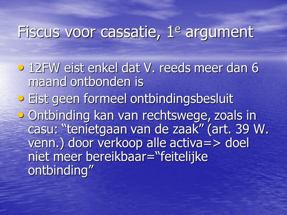 Fiscus voor cassatie, 1 e argument 12FW eist enkel dat V. reeds meer dan 6 maand ontbonden is 12FW eist enkel dat V. reeds meer dan 6 maand ontbonden