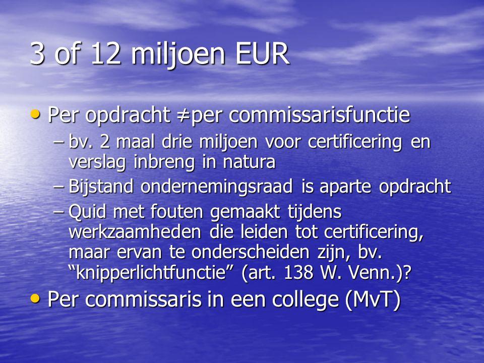 3 of 12 miljoen EUR Per opdracht ≠per commissarisfunctie Per opdracht ≠per commissarisfunctie –bv. 2 maal drie miljoen voor certificering en verslag i