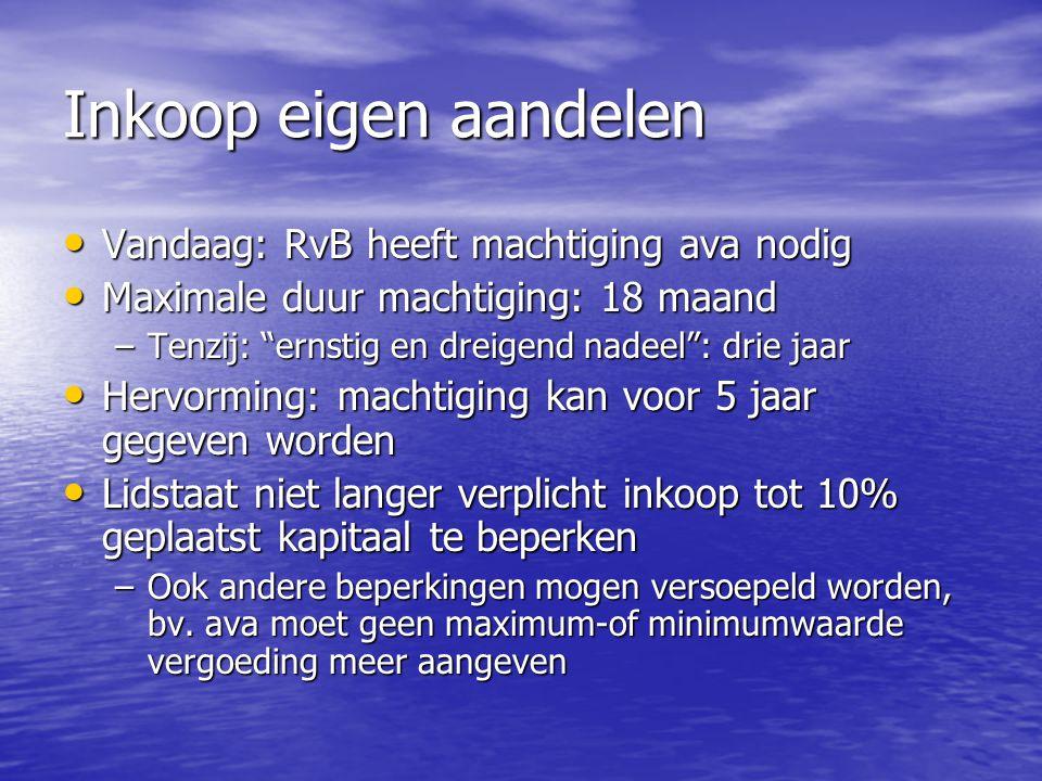 Inkoop eigen aandelen Vandaag: RvB heeft machtiging ava nodig Vandaag: RvB heeft machtiging ava nodig Maximale duur machtiging: 18 maand Maximale duur