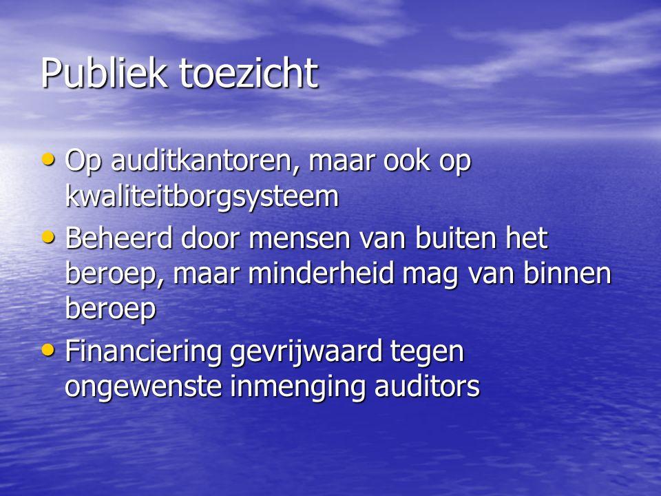 Publiek toezicht Op auditkantoren, maar ook op kwaliteitborgsysteem Op auditkantoren, maar ook op kwaliteitborgsysteem Beheerd door mensen van buiten