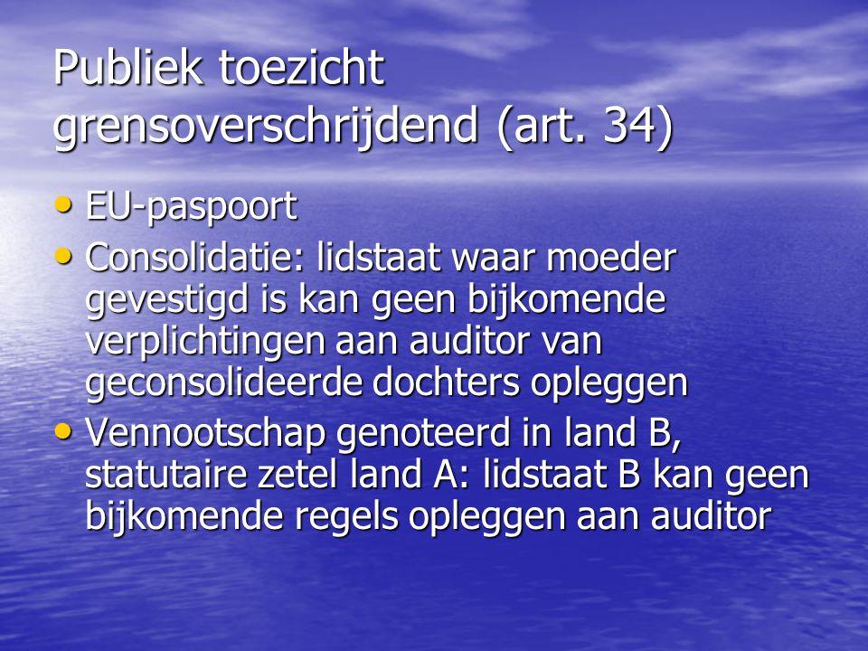 Publiek toezicht grensoverschrijdend (art. 34) EU-paspoort EU-paspoort Consolidatie: lidstaat waar moeder gevestigd is kan geen bijkomende verplichtin