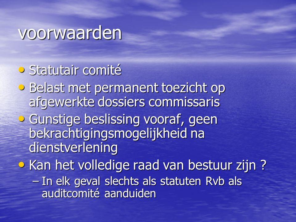 voorwaarden Statutair comité Statutair comité Belast met permanent toezicht op afgewerkte dossiers commissaris Belast met permanent toezicht op afgewe
