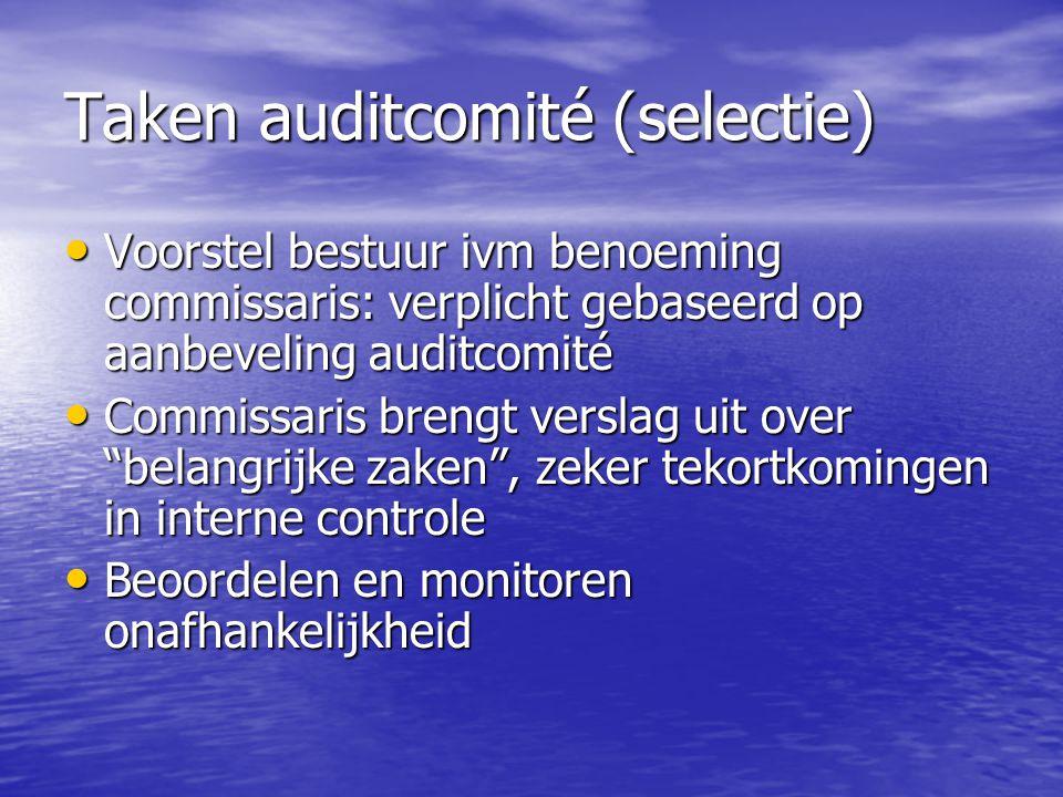 Taken auditcomité (selectie) Voorstel bestuur ivm benoeming commissaris: verplicht gebaseerd op aanbeveling auditcomité Voorstel bestuur ivm benoeming