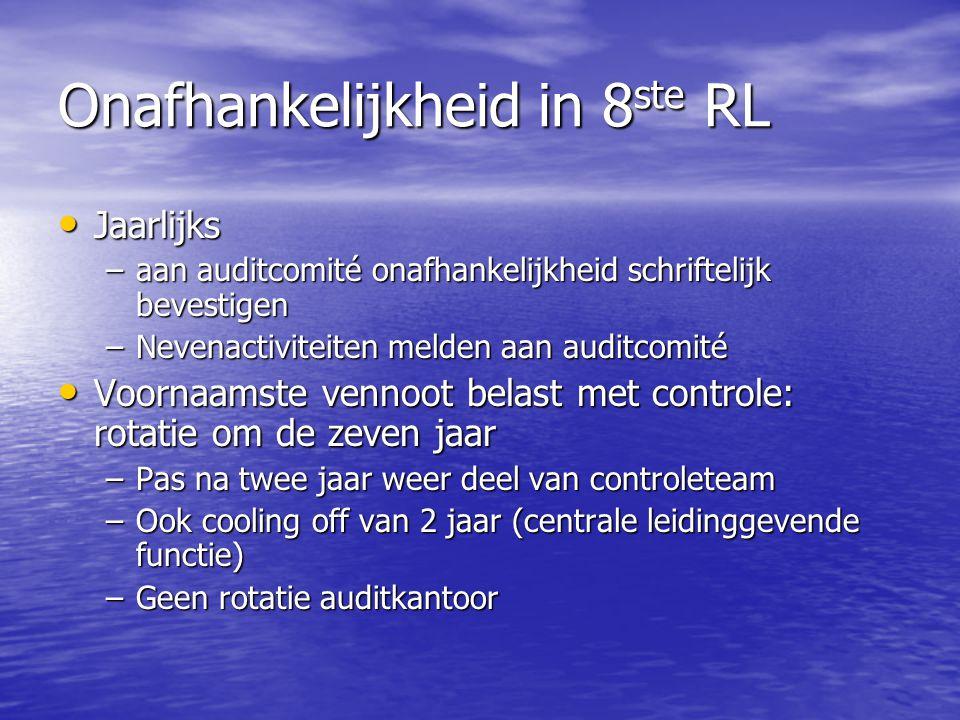 Onafhankelijkheid in 8 ste RL Jaarlijks Jaarlijks –aan auditcomité onafhankelijkheid schriftelijk bevestigen –Nevenactiviteiten melden aan auditcomité