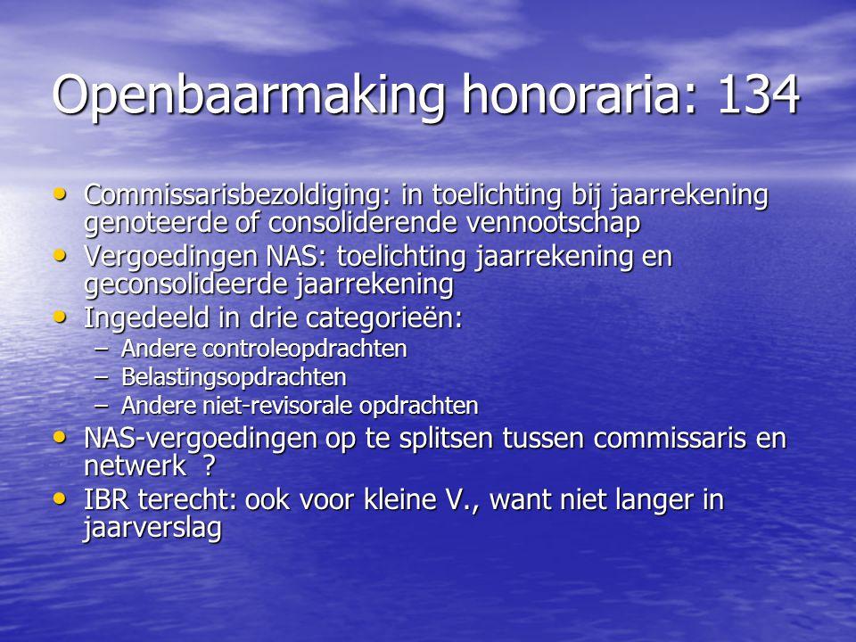 Openbaarmaking honoraria: 134 Commissarisbezoldiging: in toelichting bij jaarrekening genoteerde of consoliderende vennootschap Commissarisbezoldiging