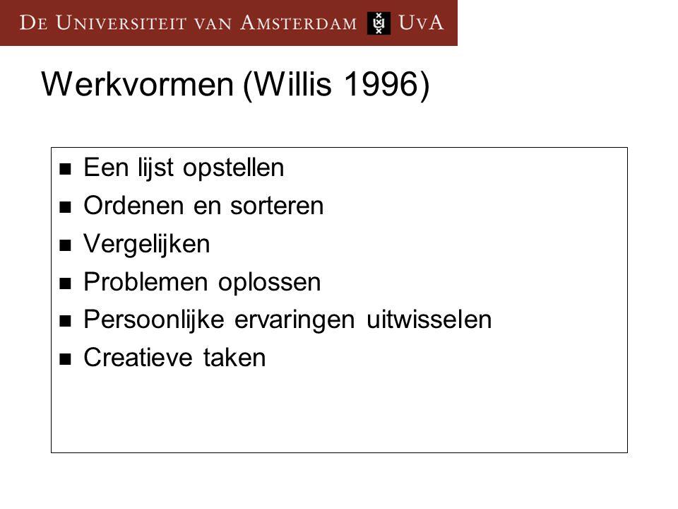 Werkvormen (Willis 1996) Een lijst opstellen Ordenen en sorteren Vergelijken Problemen oplossen Persoonlijke ervaringen uitwisselen Creatieve taken