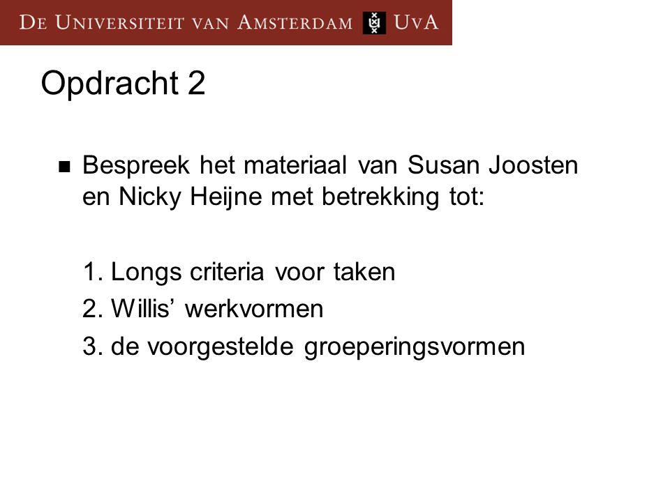 Opdracht 2 Bespreek het materiaal van Susan Joosten en Nicky Heijne met betrekking tot: 1. Longs criteria voor taken 2. Willis' werkvormen 3. de voorg