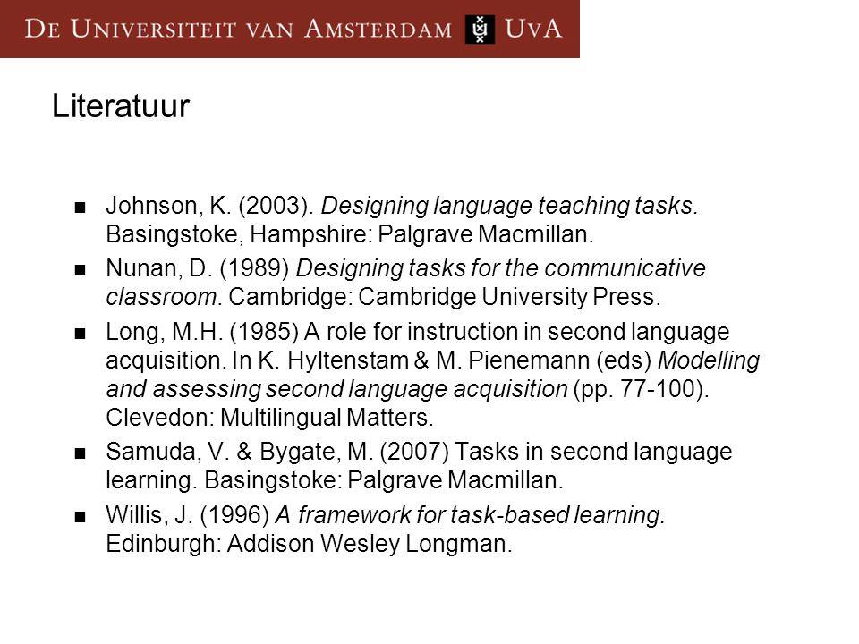 Literatuur Johnson, K. (2003). Designing language teaching tasks. Basingstoke, Hampshire: Palgrave Macmillan. Nunan, D. (1989) Designing tasks for the