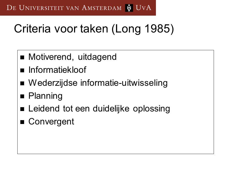 Criteria voor taken (Long 1985) Motiverend, uitdagend Informatiekloof Wederzijdse informatie-uitwisseling Planning Leidend tot een duidelijke oplossin
