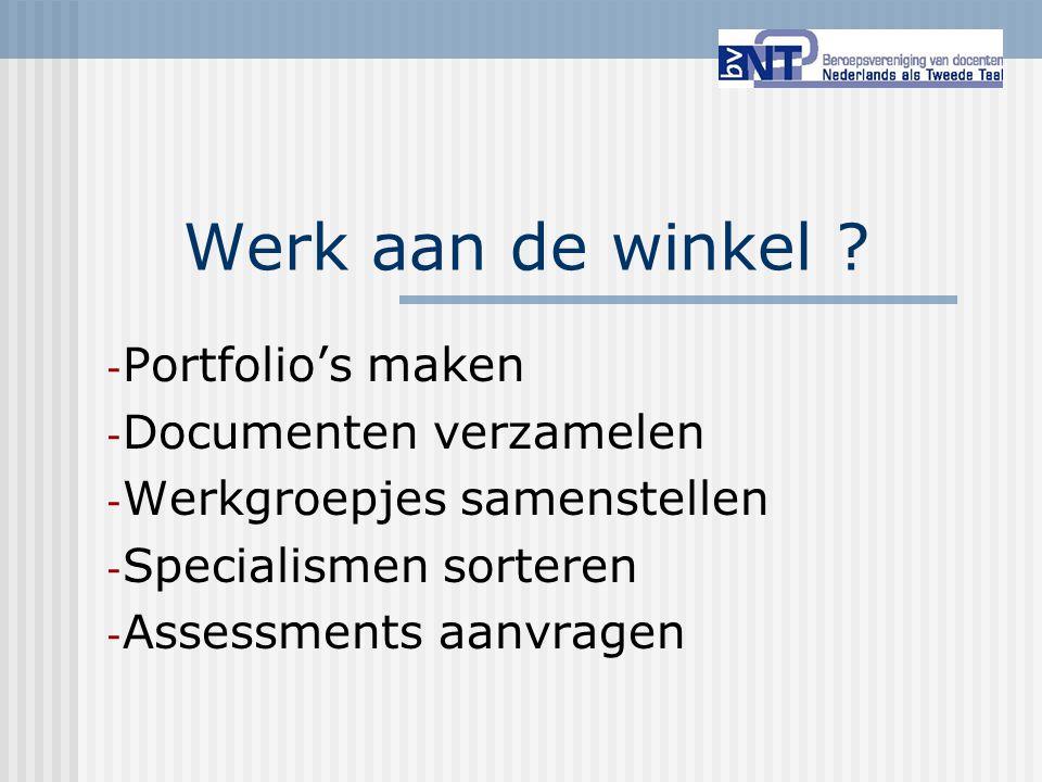 Werk aan de winkel ? - Portfolio's maken - Documenten verzamelen - Werkgroepjes samenstellen - Specialismen sorteren - Assessments aanvragen