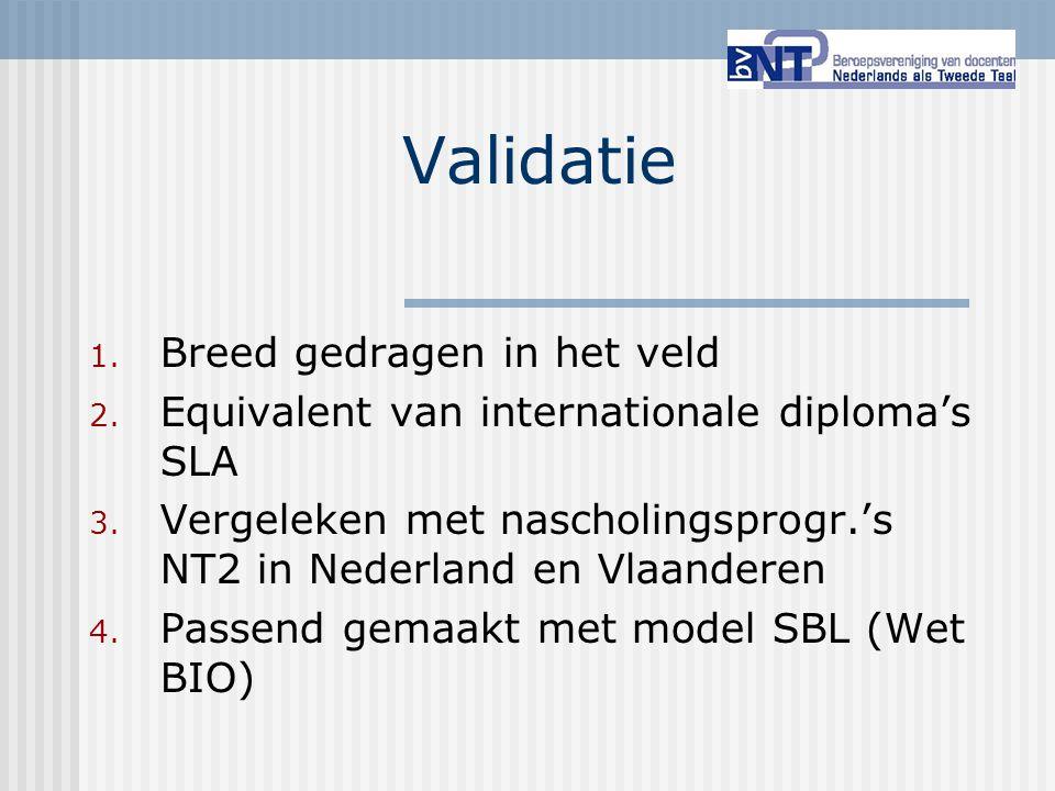 Validatie 1. Breed gedragen in het veld 2. Equivalent van internationale diploma's SLA 3. Vergeleken met nascholingsprogr.'s NT2 in Nederland en Vlaan