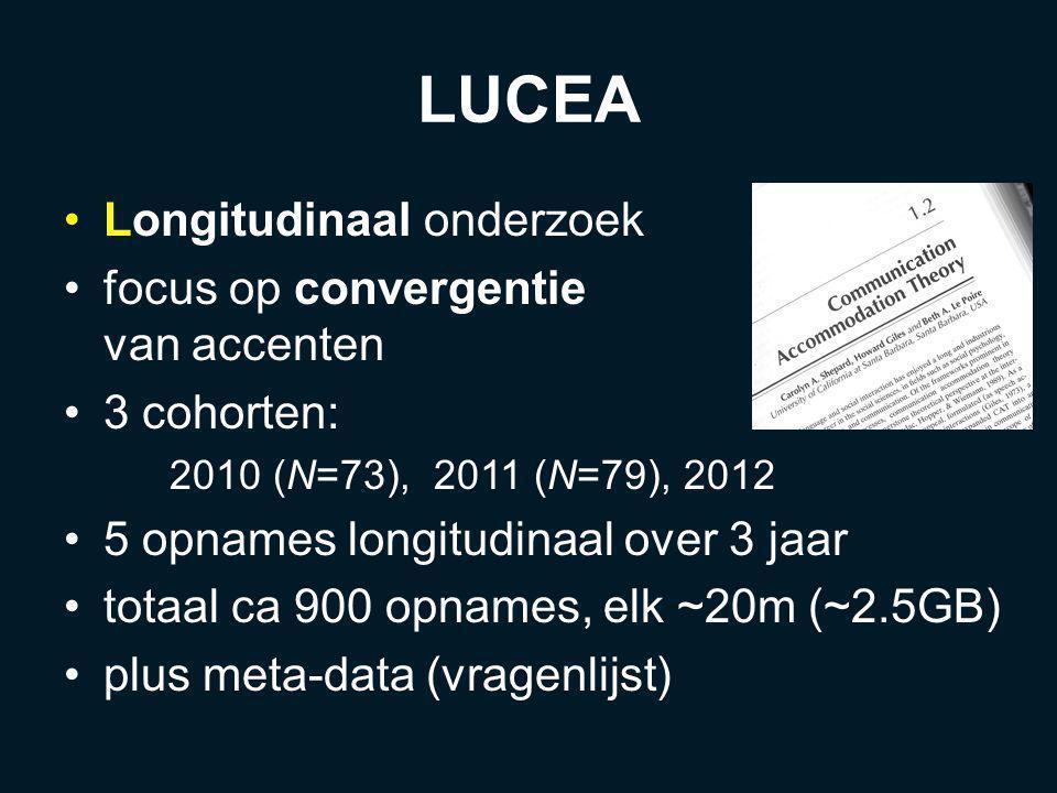 LUCEA Longitudinaal onderzoek focus op convergentie van accenten 3 cohorten: 2010 (N=73), 2011 (N=79), 2012 5 opnames longitudinaal over 3 jaar totaal ca 900 opnames, elk ~20m (~2.5GB) plus meta-data (vragenlijst)