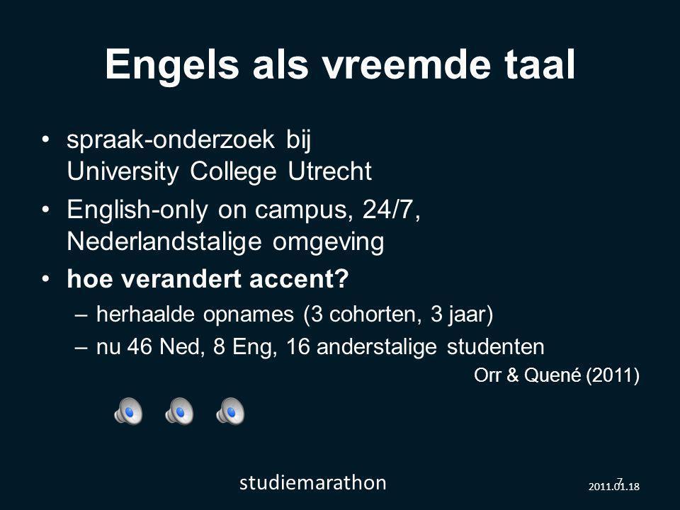 2011.01.18 studiemarathon 7 Engels als vreemde taal spraak-onderzoek bij University College Utrecht English-only on campus, 24/7, Nederlandstalige omgeving hoe verandert accent.