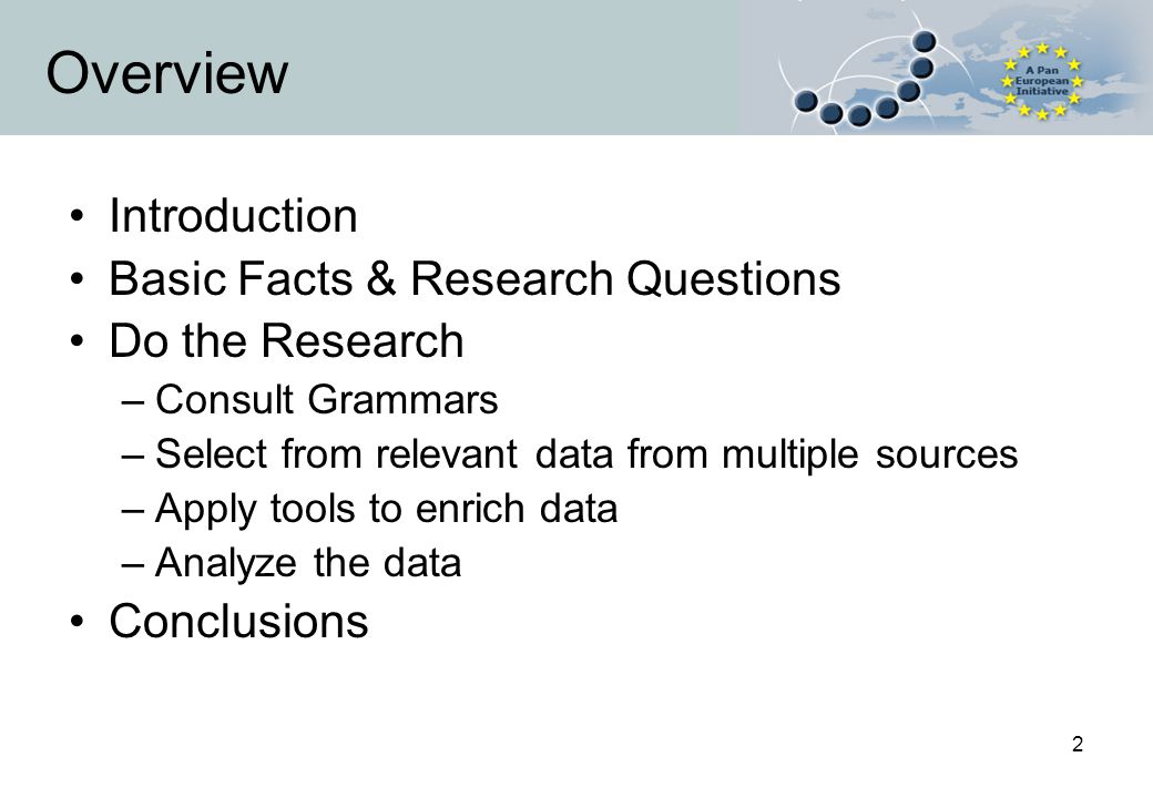2 Overview Introduction Basic Facts & Research Questions Do the Research –Consult Grammars –Select from relevant data from multiple sources –Apply tools to enrich data –Analyze the data Conclusions