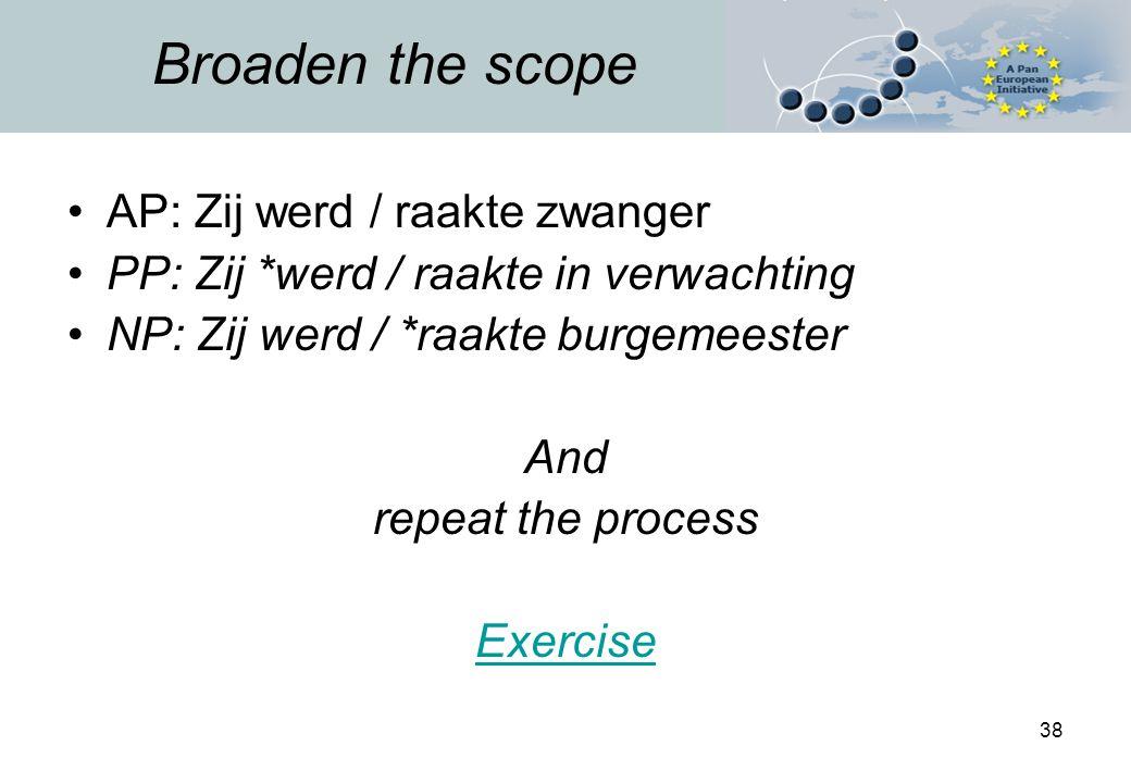38 Broaden the scope AP: Zij werd / raakte zwanger PP: Zij *werd / raakte in verwachting NP: Zij werd / *raakte burgemeester And repeat the process Exercise