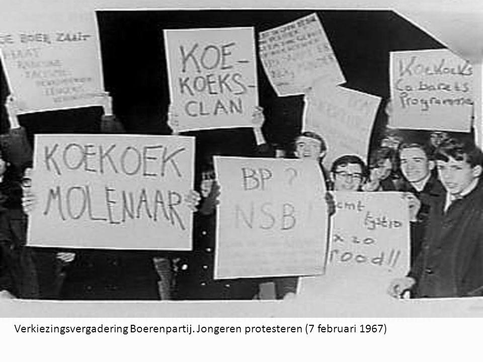 Verkiezingsvergadering Boerenpartij. Jongeren protesteren (7 februari 1967)