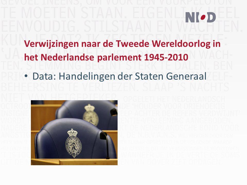 Verwijzingen naar de Tweede Wereldoorlog in het Nederlandse parlement 1945-2010 Data: Handelingen der Staten Generaal