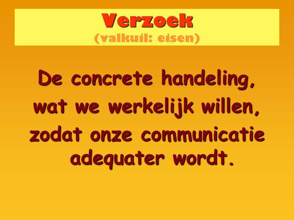 Verzoek Verzoek (valkuil: eisen) De concrete handeling, wat we werkelijk willen, zodat onze communicatie adequater wordt.