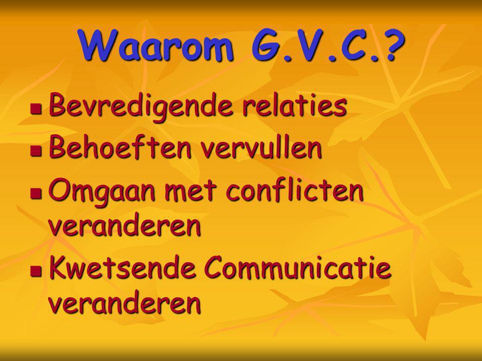 Waarom G.V.C.? Bevredigende relaties Bevredigende relaties Behoeften vervullen Behoeften vervullen Omgaan met conflicten veranderen Omgaan met conflic
