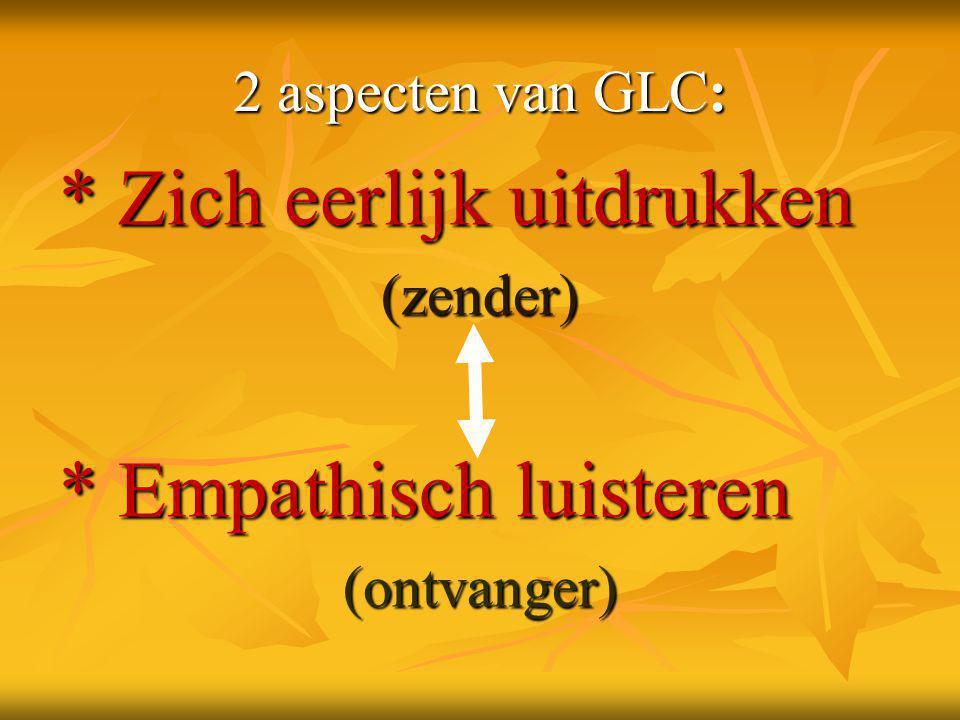 2 aspecten van GLC: * Zich eerlijk uitdrukken (zender) * Empathisch luisteren (ontvanger)