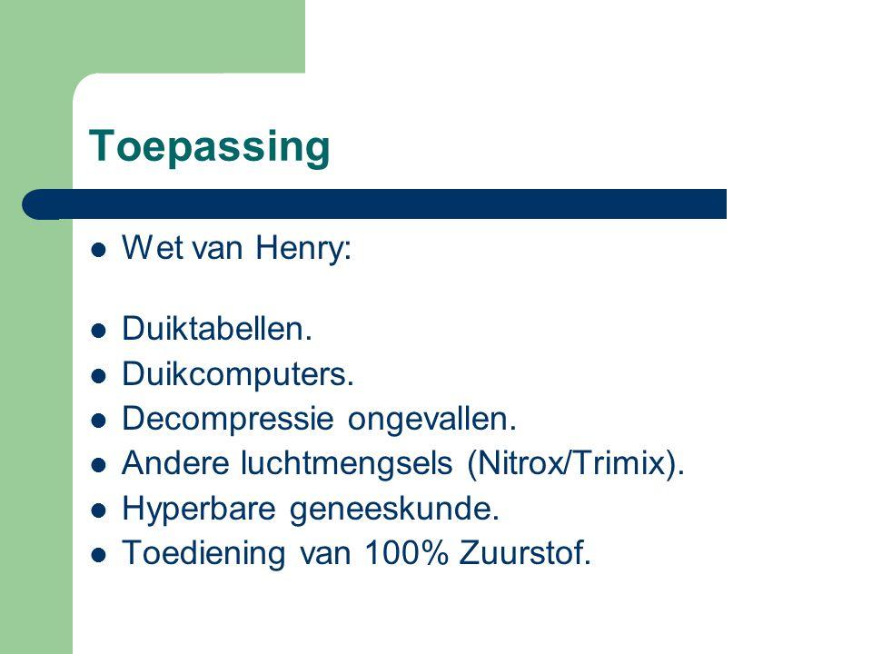 Toepassing Wet van Henry: Duiktabellen.Duikcomputers.
