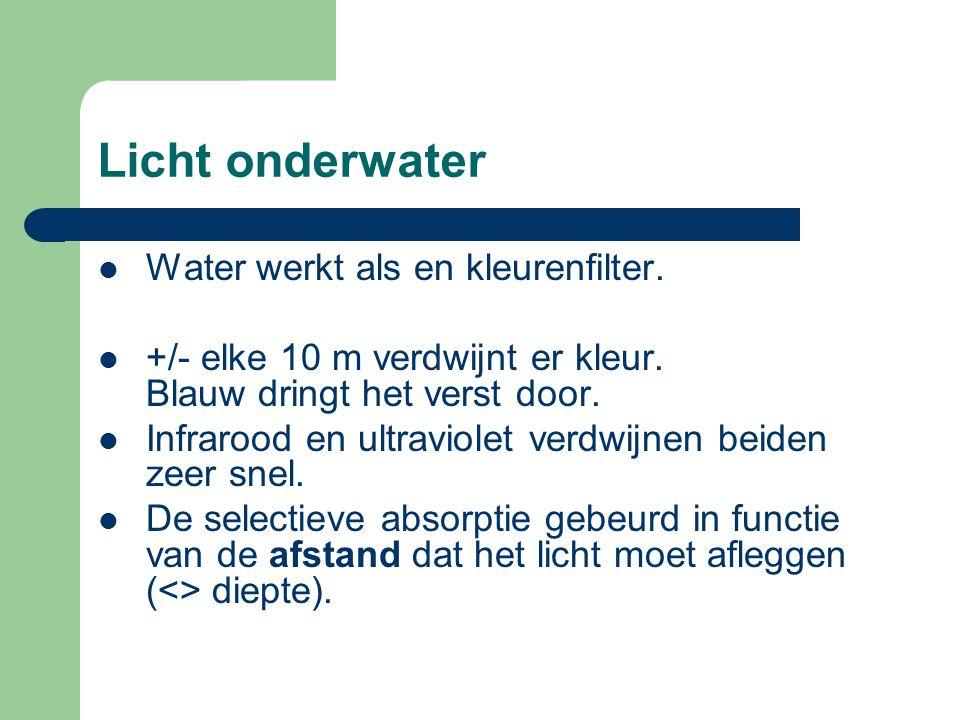 Licht onderwater Water werkt als en kleurenfilter.