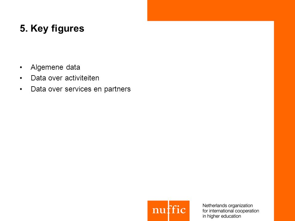 5. Key figures Algemene data Data over activiteiten Data over services en partners