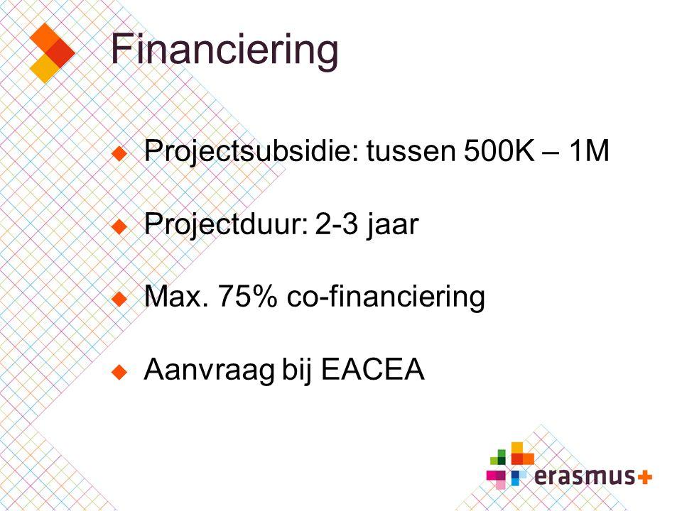 Financiering  Projectsubsidie: tussen 500K – 1M  Projectduur: 2-3 jaar  Max. 75% co-financiering  Aanvraag bij EACEA