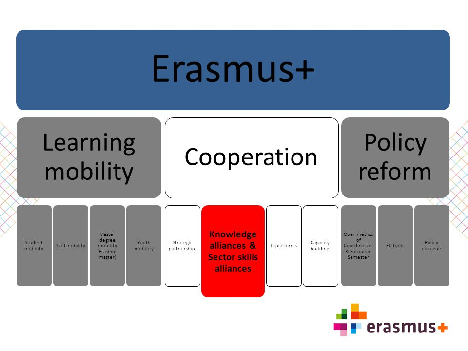 Erasmus+ Learning mobility Student mobility Staff mobility Master degree mobility (Erasmus master) Youth mobility Cooperation Strategic partnerships K