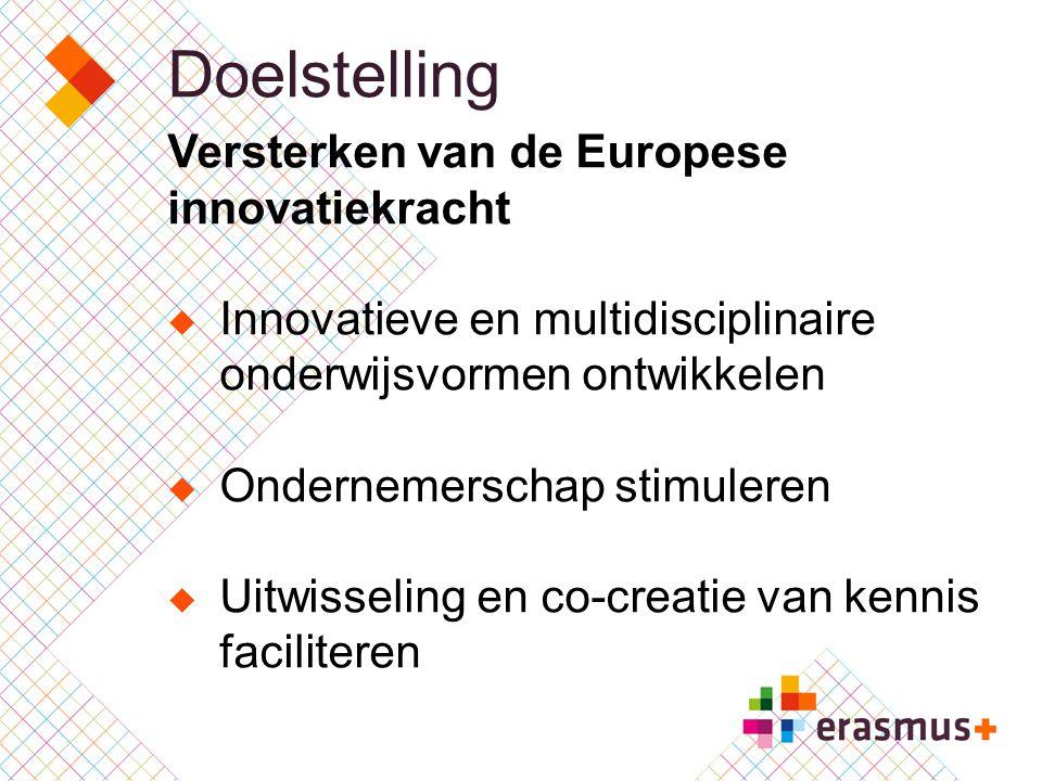 Doelstelling Versterken van de Europese innovatiekracht  Innovatieve en multidisciplinaire onderwijsvormen ontwikkelen  Ondernemerschap stimuleren 