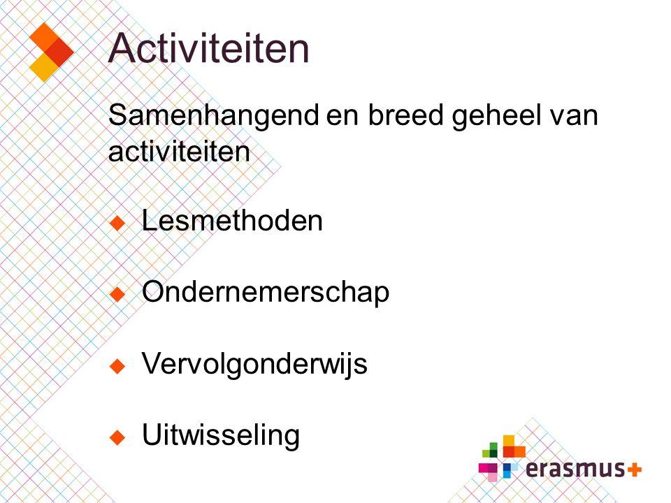 Activiteiten Samenhangend en breed geheel van activiteiten  Lesmethoden  Ondernemerschap  Vervolgonderwijs  Uitwisseling