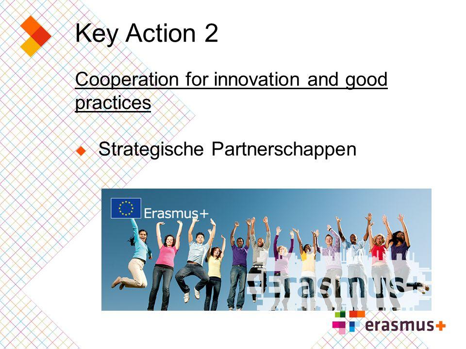 Key Action 2 Strategische Partnerschappen Een nieuwe actie voortbouwend op LLP  Partnerschappen (inclusief Regio)  Multilaterale projecten en netwerken  Transfer/development of innovation