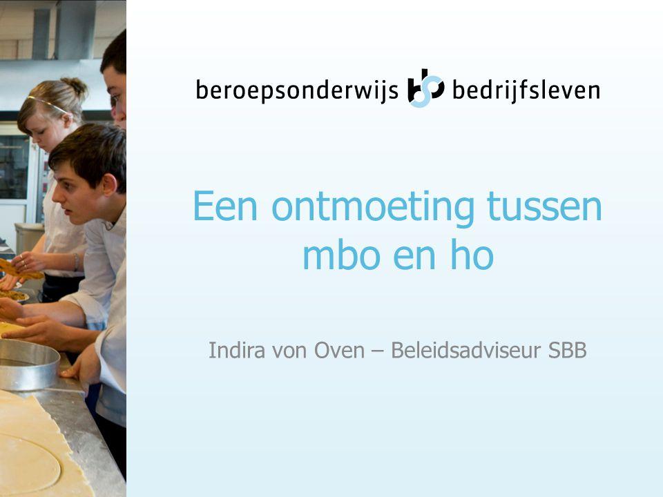 Een ontmoeting tussen mbo en ho Indira von Oven – Beleidsadviseur SBB