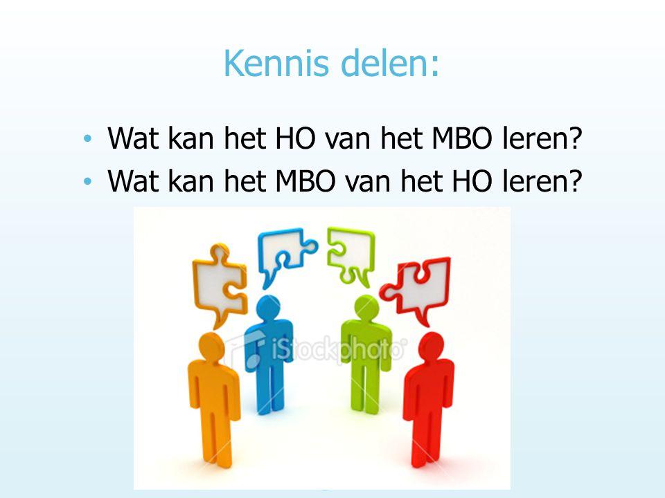Kennis delen: Wat kan het HO van het MBO leren? Wat kan het MBO van het HO leren?