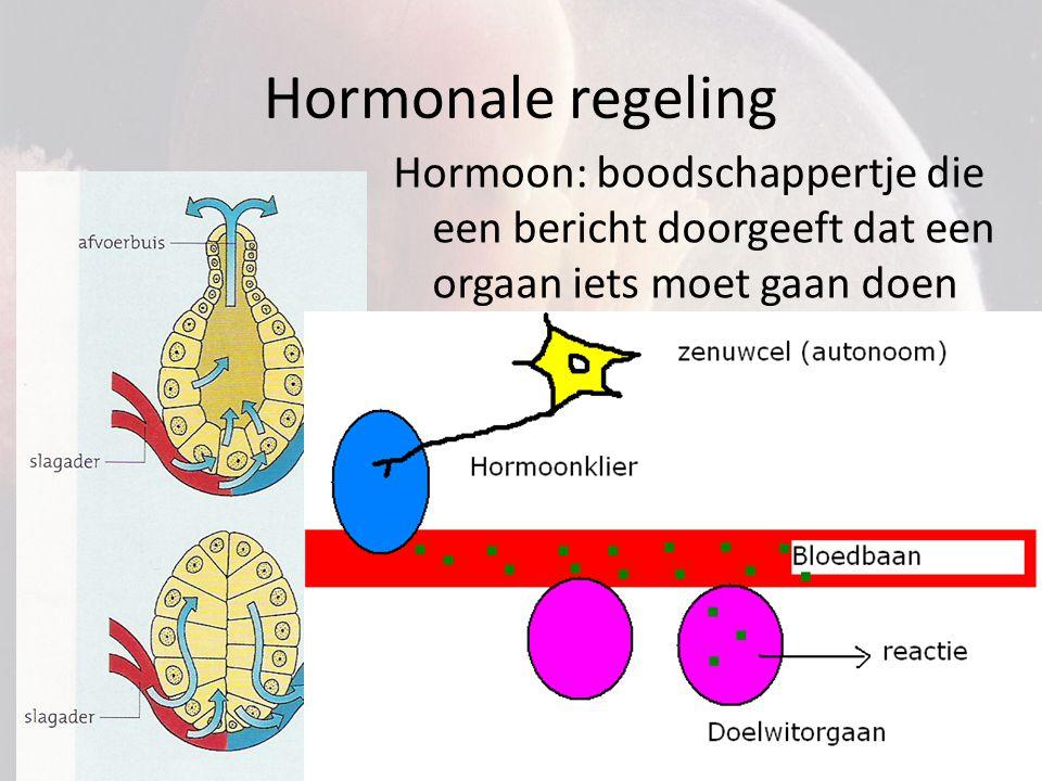 Hormonale regeling Hormoon: boodschappertje die een bericht doorgeeft dat een orgaan iets moet gaan doen