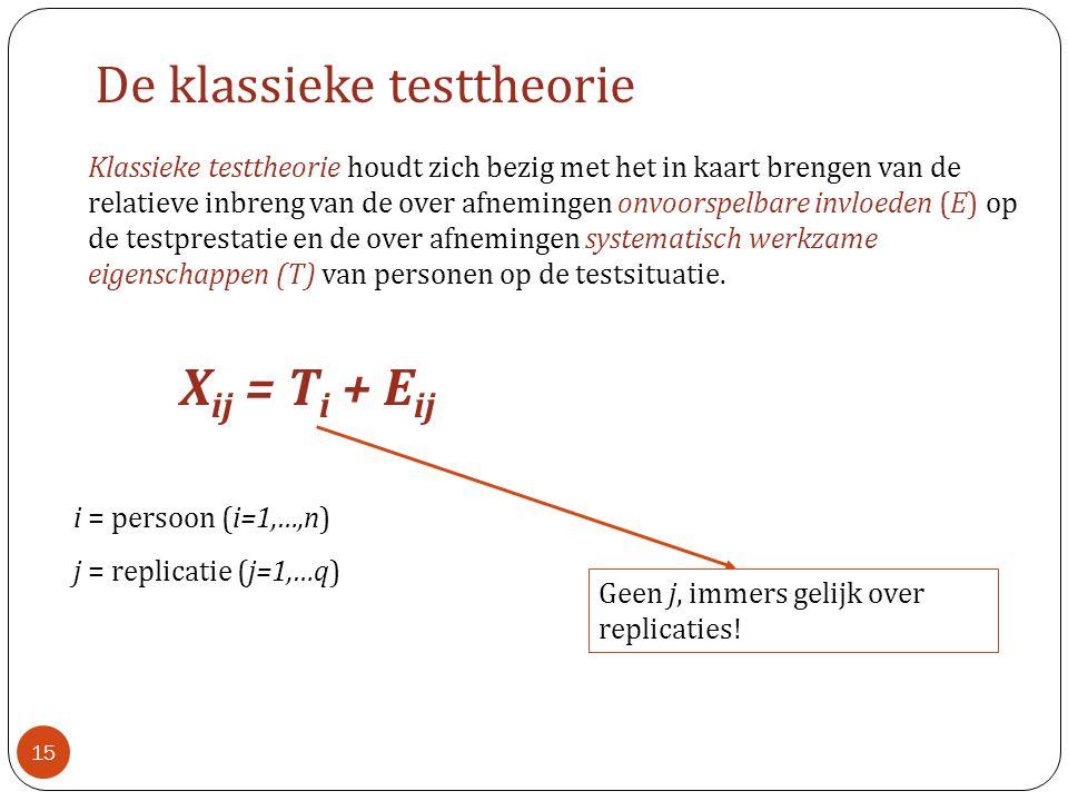 Klassieke testtheorie houdt zich bezig met het in kaart brengen van de relatieve inbreng van de over afnemingen onvoorspelbare invloeden (E) op de tes