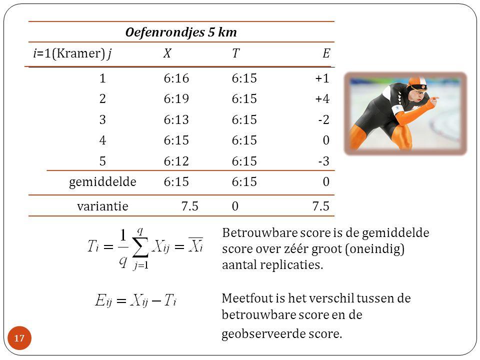 06:15 gemiddelde 7.50 variantie Oefenrondjes 5 km -36:156:125 06:15 4 -26:156:133 +46:156:192 +16:156:161 ETXi=1(Kramer) j Betrouwbare score is de gem