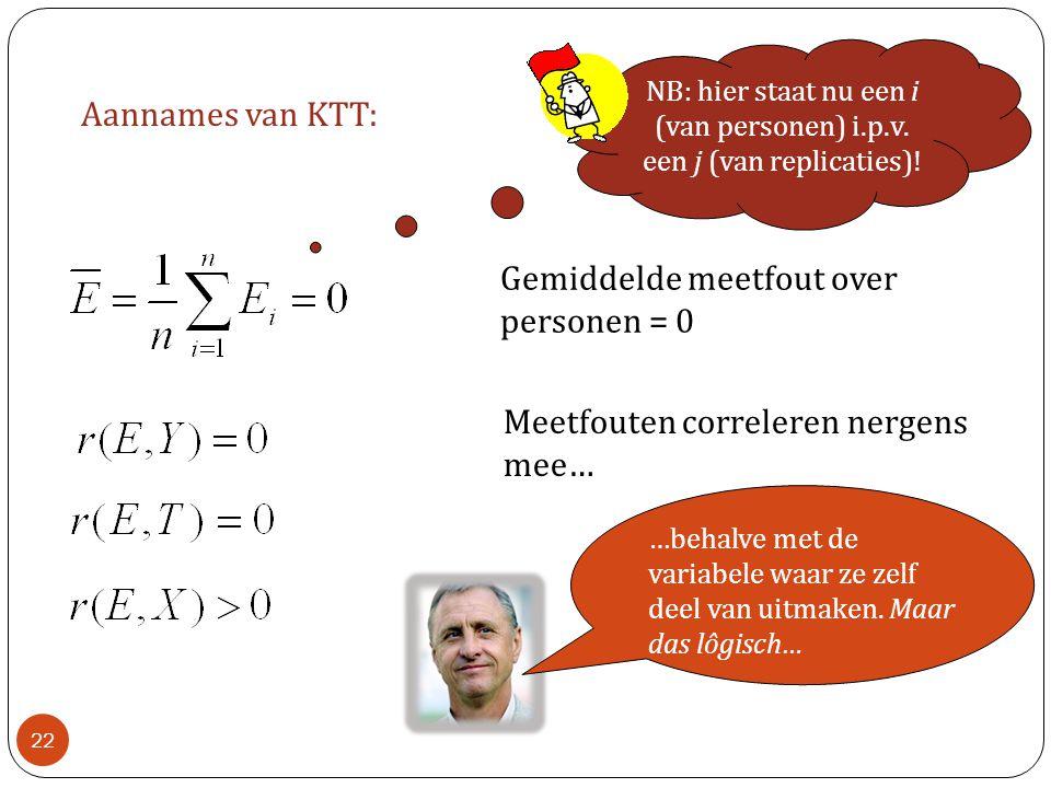 Aannames van KTT: Meetfouten correleren nergens mee… Gemiddelde meetfout over personen = 0 NB: hier staat nu een i (van personen) i.p.v. een j (van re