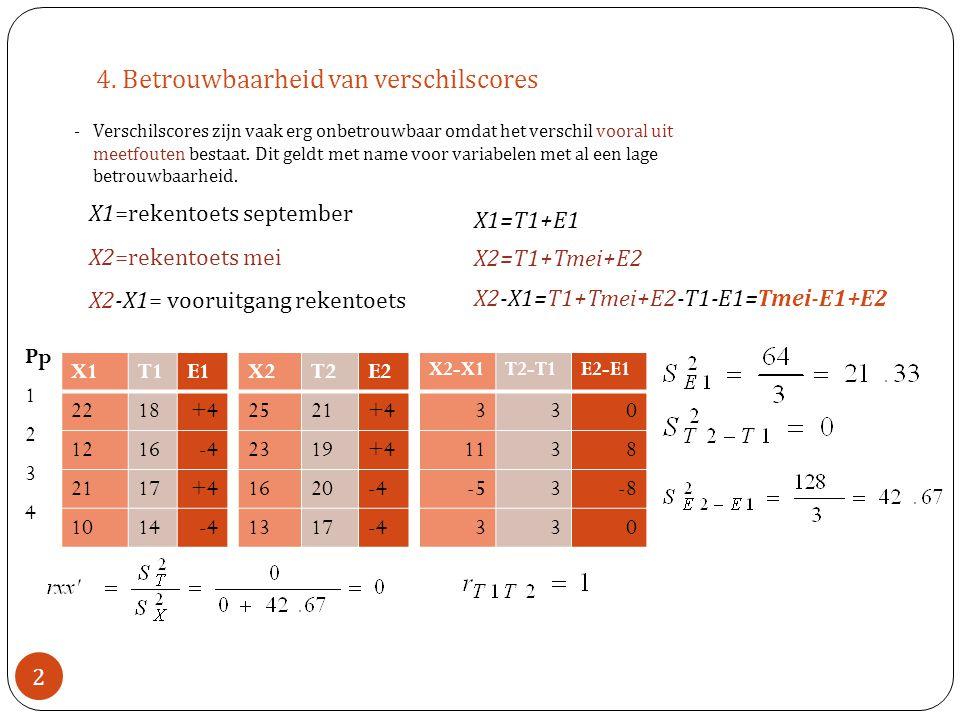 4. Betrouwbaarheid van verschilscores -Verschilscores zijn vaak erg onbetrouwbaar omdat het verschil vooral uit meetfouten bestaat. Dit geldt met name