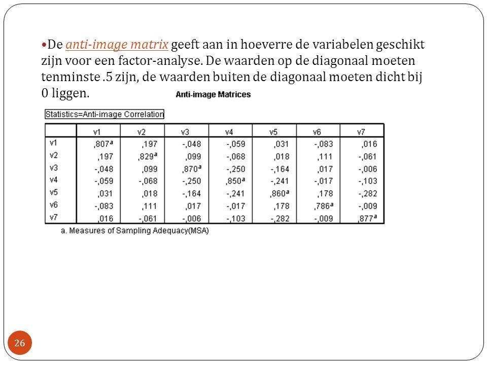 De anti-image matrix geeft aan in hoeverre de variabelen geschikt zijn voor een factor-analyse. De waarden op de diagonaal moeten tenminste.5 zijn, de