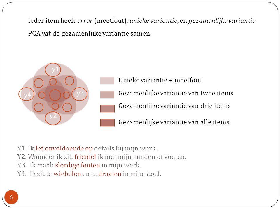 Orthogonale Rotatie: Varimax - Assen worden geroteerd maar blijven ongecorreleerd.