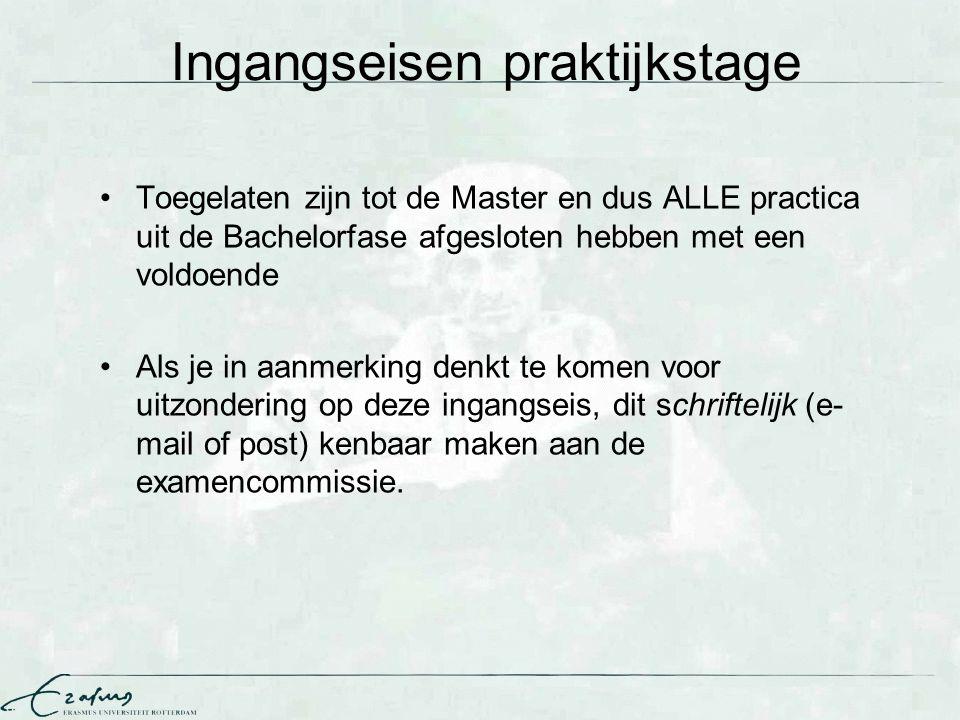 Ingangseisen praktijkstage Toegelaten zijn tot de Master en dus ALLE practica uit de Bachelorfase afgesloten hebben met een voldoende Als je in aanmer