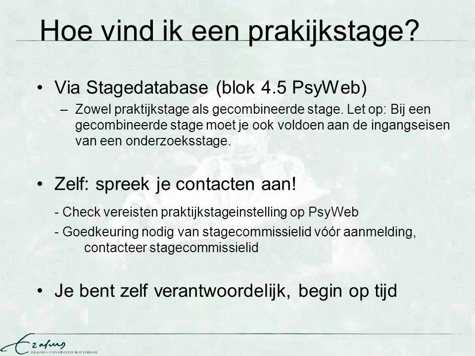 Hoe vind ik een prakijkstage? Via Stagedatabase (blok 4.5 PsyWeb) –Zowel praktijkstage als gecombineerde stage. Let op: Bij een gecombineerde stage mo