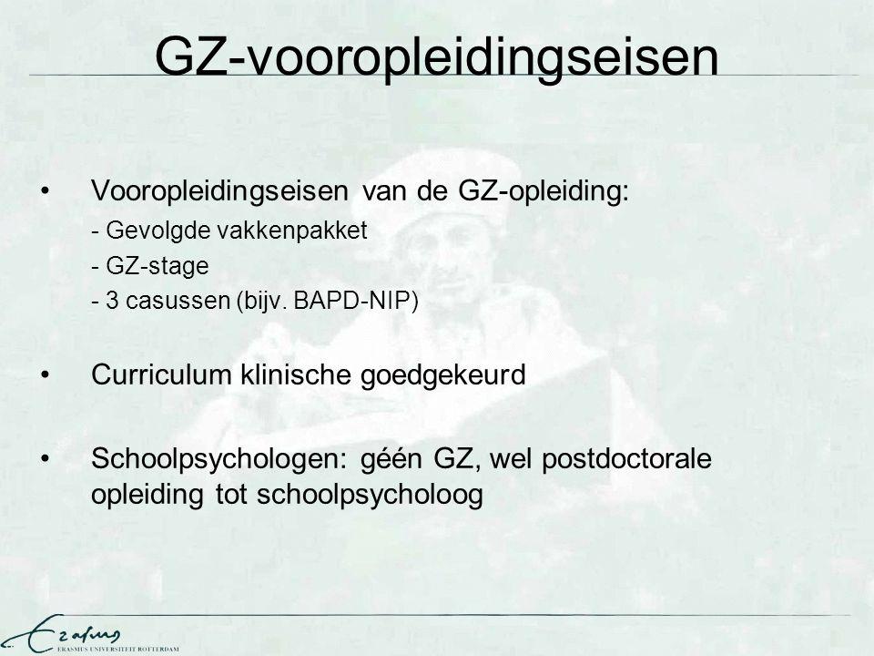 GZ-vooropleidingseisen Vooropleidingseisen van de GZ-opleiding: - Gevolgde vakkenpakket - GZ-stage - 3 casussen (bijv. BAPD-NIP) Curriculum klinische
