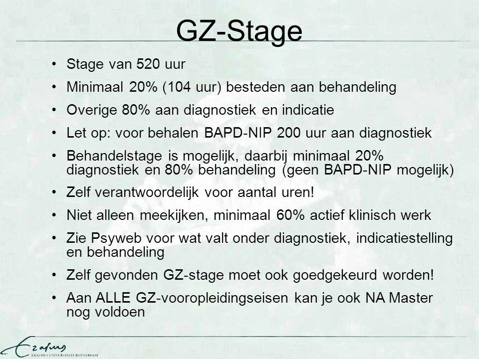 GZ-Stage Stage van 520 uur Minimaal 20% (104 uur) besteden aan behandeling Overige 80% aan diagnostiek en indicatie Let op: voor behalen BAPD-NIP 200
