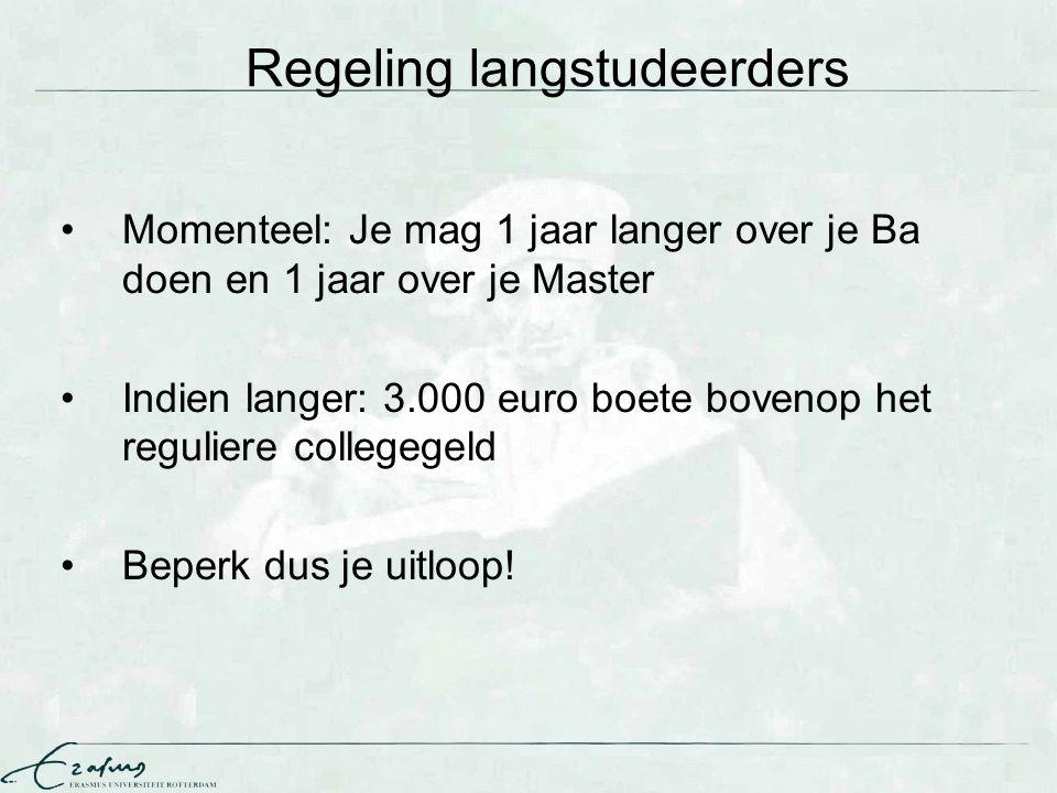 Regeling langstudeerders Momenteel: Je mag 1 jaar langer over je Ba doen en 1 jaar over je Master Indien langer: 3.000 euro boete bovenop het regulier