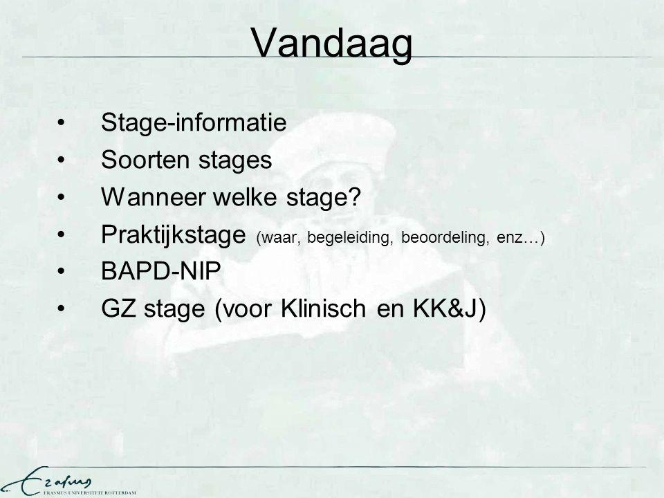 Vandaag Stage-informatie Soorten stages Wanneer welke stage? Praktijkstage (waar, begeleiding, beoordeling, enz…) BAPD-NIP GZ stage (voor Klinisch en