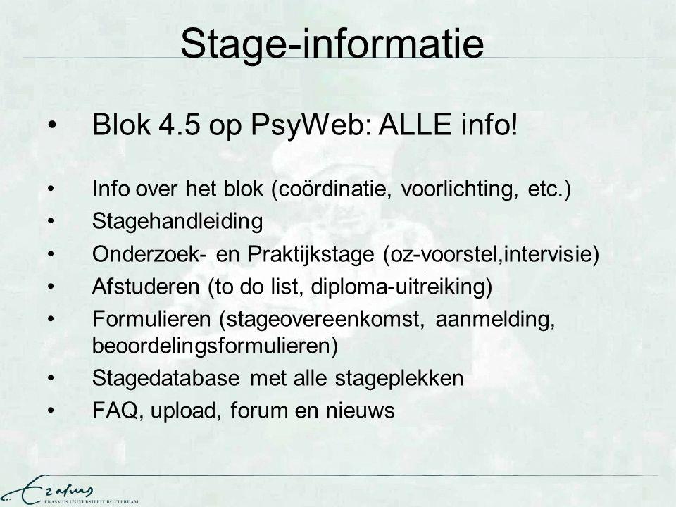 Stage-informatie Blok 4.5 op PsyWeb: ALLE info! Info over het blok (coördinatie, voorlichting, etc.) Stagehandleiding Onderzoek- en Praktijkstage (oz-