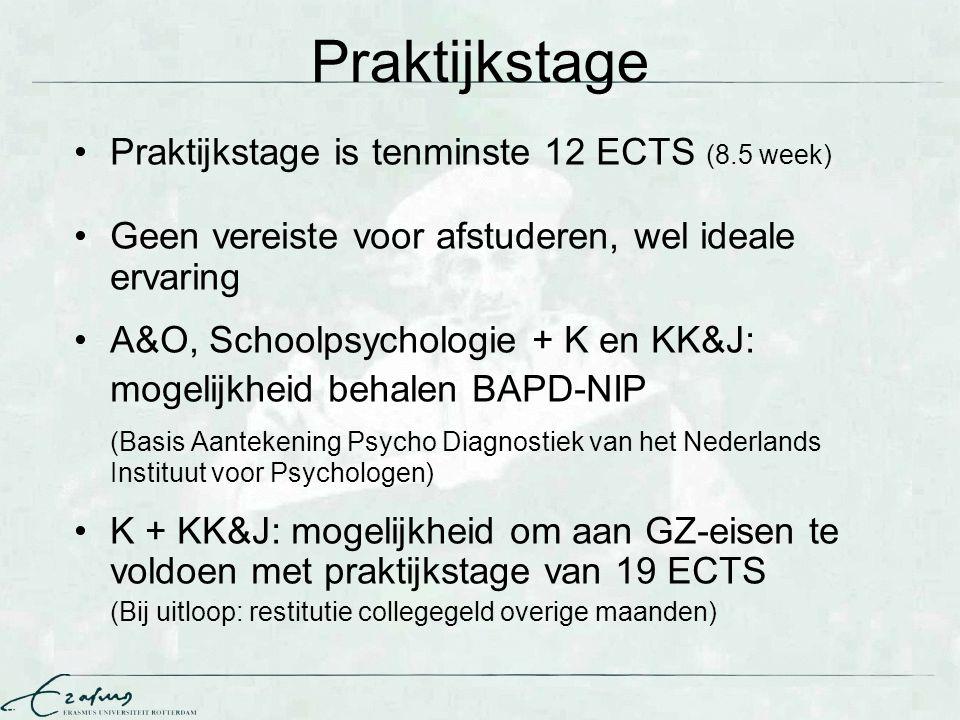 Praktijkstage II Let op: Instellingstarief → indien je alle ECTS binnen hebt, MOET je afstuderen Denk dus goed na over p-stage, want na een 32 ECTS oz-stage wordt p-stage erg duur Begin op tijd te zoeken, indien in jan 2013 nog geen p- stage, kies voor 32 ECTS oz-stage Hoogte instellingstarief afhankelijk van aantal factoren, zie EUR-website: http://www.eur.nl/master/praktische_zaken/inschrijven/collegegelden/wettelijk_instellingstarief/ Better safe than sorry: kies dan voor een werkervaringsplek en beperk je uitloop!